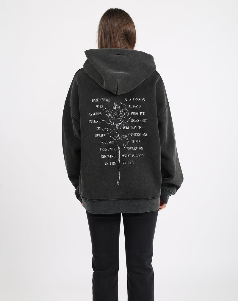 "The ""DEFINITION OF A BABE"" Big Sister Hoodie/ Acid Wash"