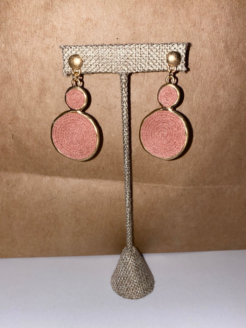 Dusty Pink Suede Disc Earrings