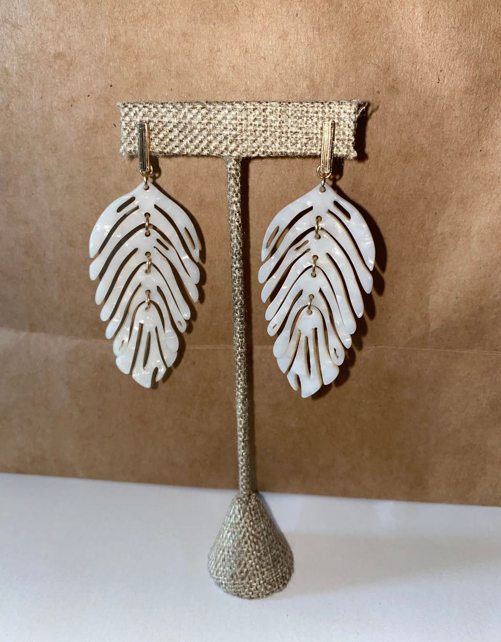 Ivory Leaf Earrings