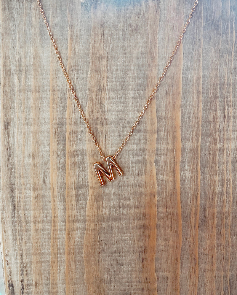 Block Gold Initial Necklace