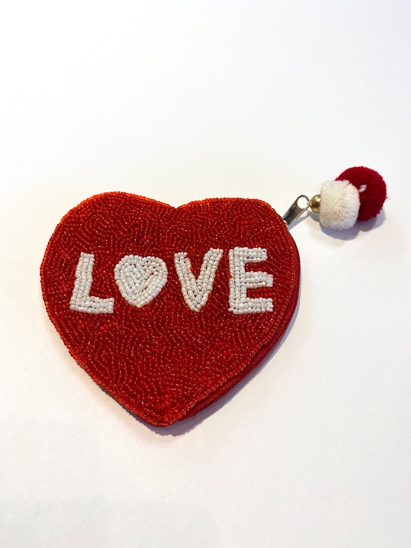 Love Beaded Coin Purse