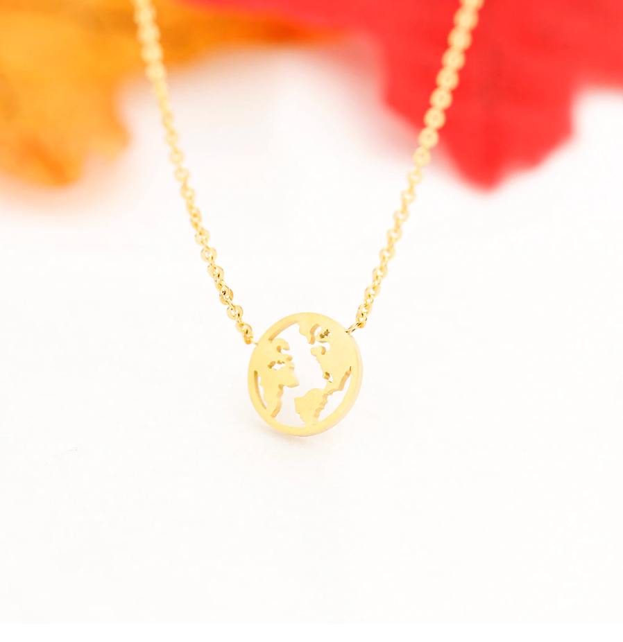 Globe World Map Necklaces