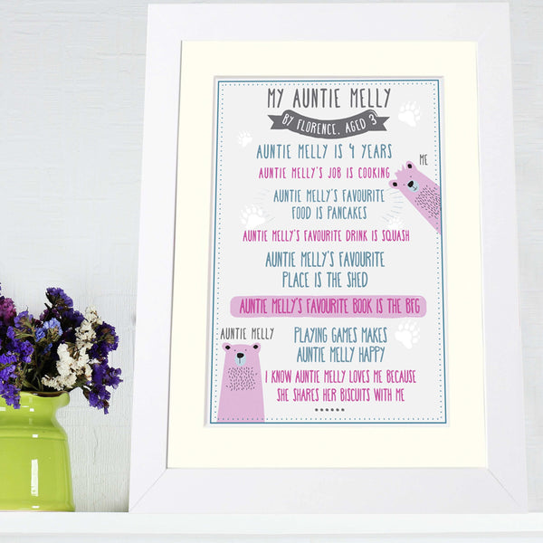 Personalised 'My Auntie' Print