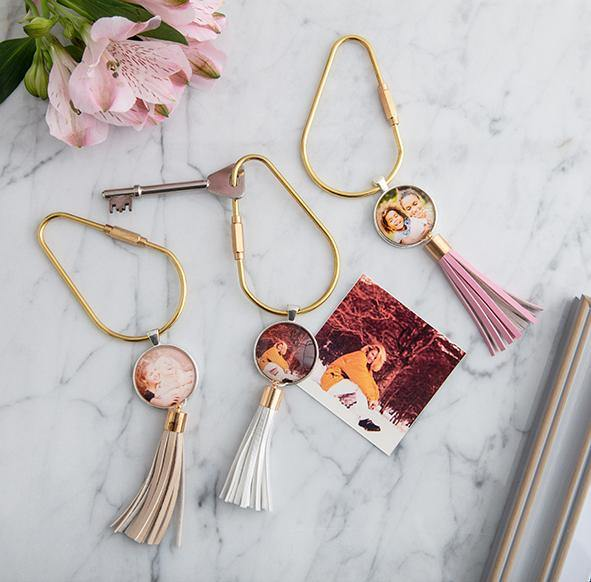 In memory photo tassel keyring