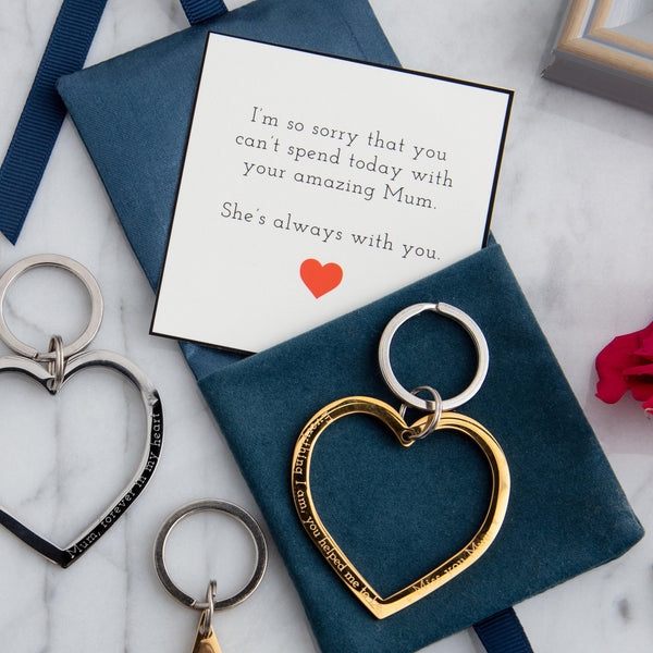 In memory heart keyring in gold or silver - MW Studio