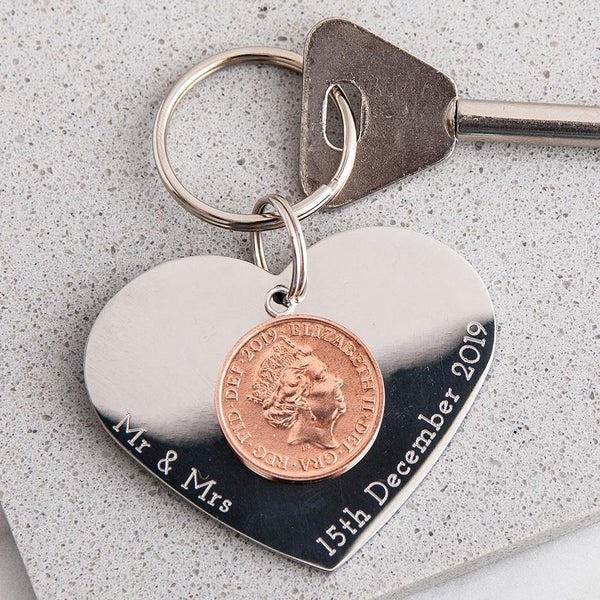 'Loved you then. Love you Now.' Heart Keyring