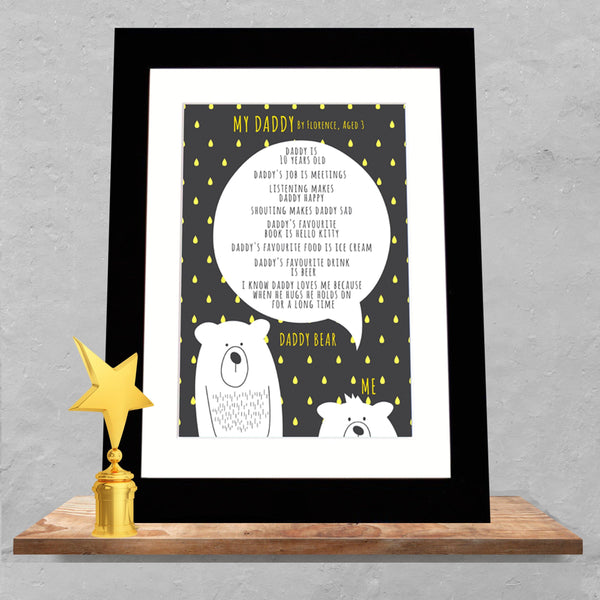 Personalised 'My Daddy' Bear Print