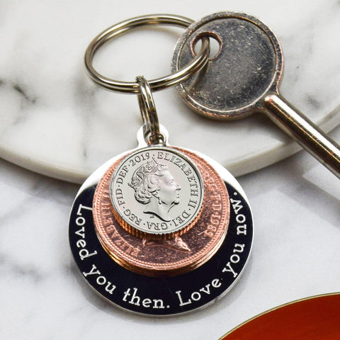'Loved you then. Love you now' Keyring