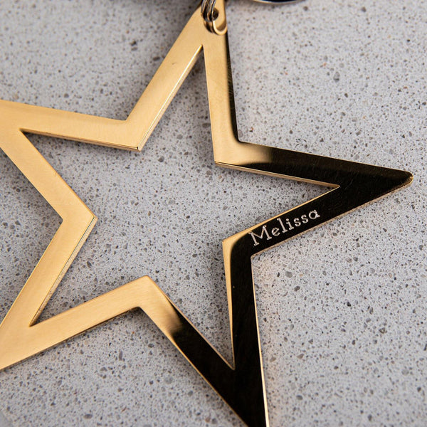 Star Keyring in Gold or Silver