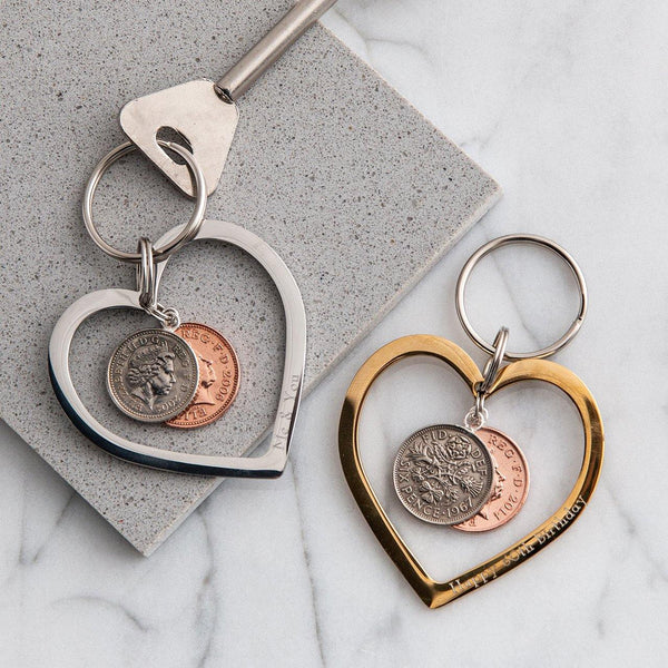 Personalised Heart Coin Keyring In Gold Or Silver