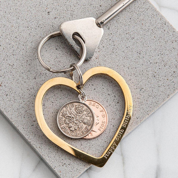 Personalised Heart Coin Keyring In Gold Or Silver - MW Studio