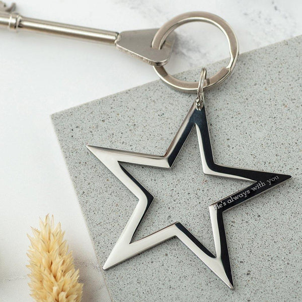 In memory star keyring in gold or silver - MW Studio