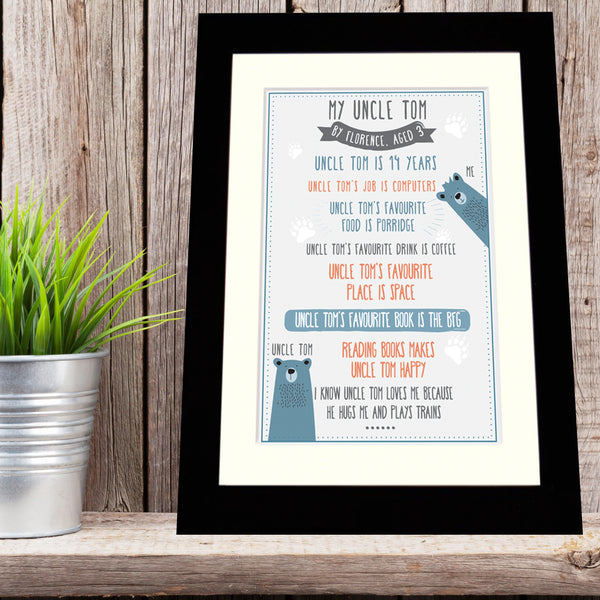Personalised 'My Uncle' Print