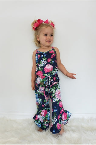 Navy Rose Girls Romper