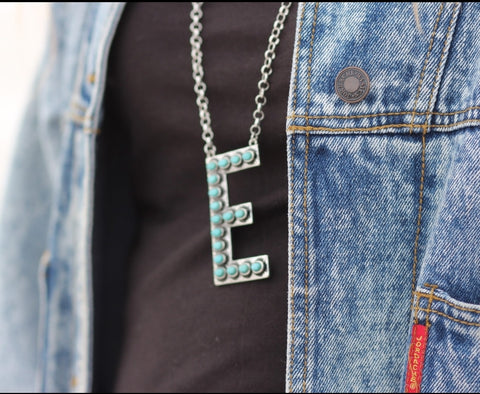 Turquoise Initial Necklaces