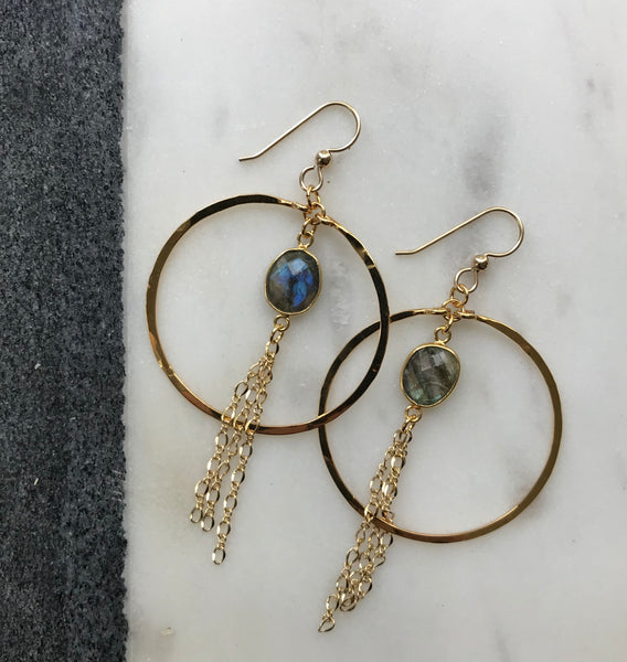 Labradorite Dangle Hoops