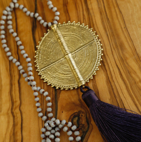 Brass Compass Medallion Mala Necklace