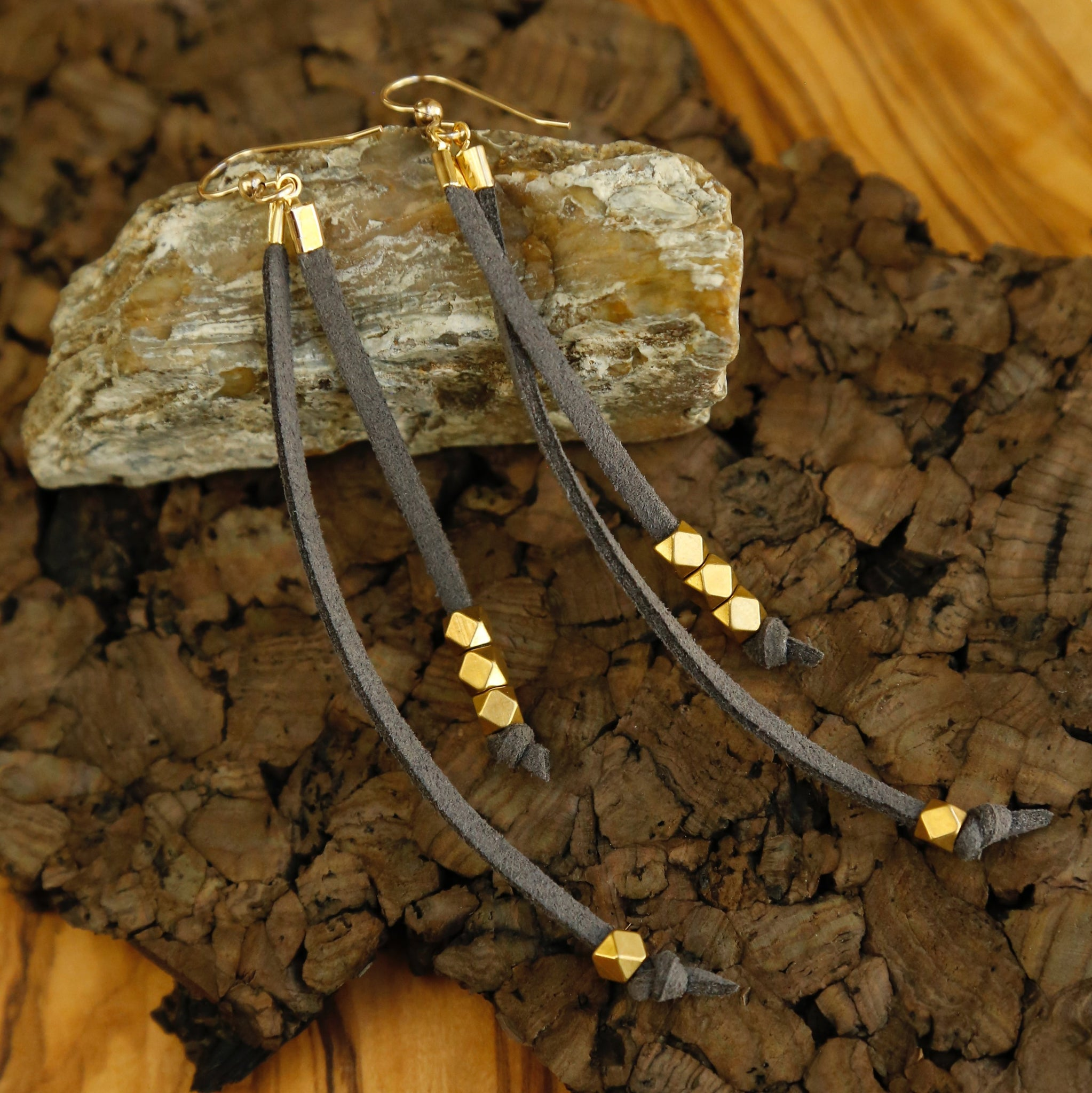 Trailing Sparks Leather Earrings in Silver or Gold