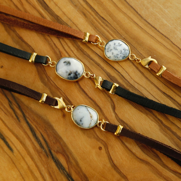 Gemstone and Leather Bracelet