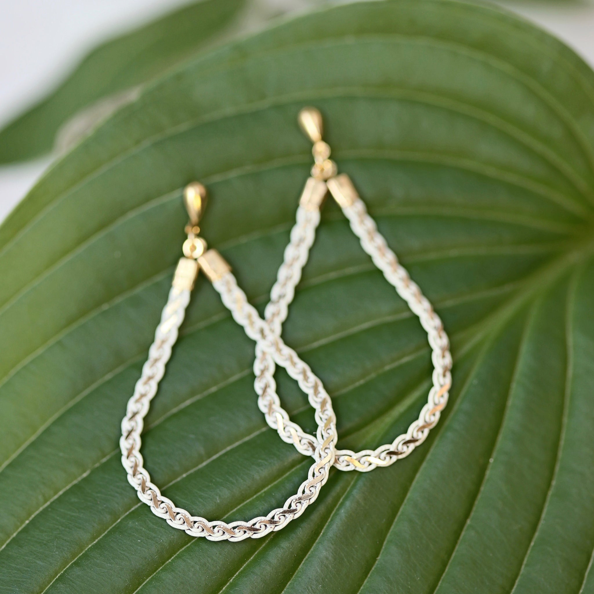 Teardrop Loop Earrings - Gold Posts / Woven Metal Loop Earring