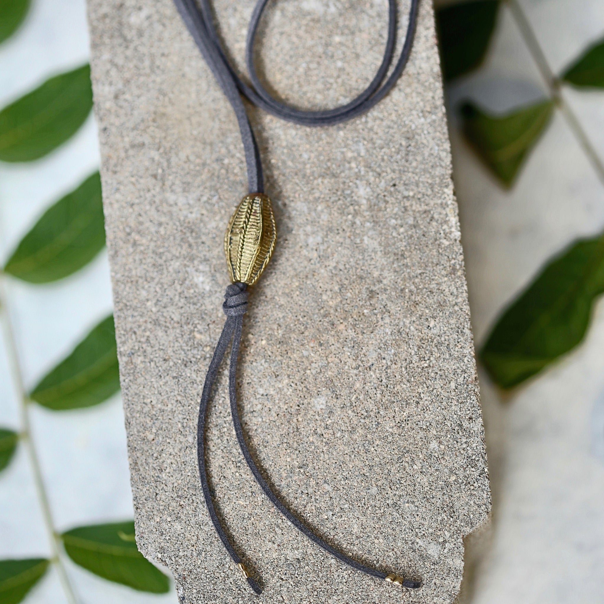 Gray Lariat - Leather Necklace / Brass Pendant / Knotted Necklace