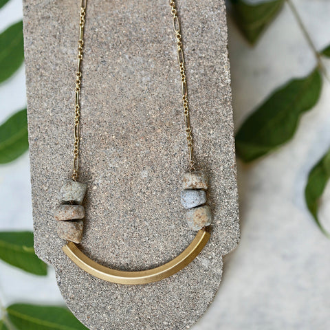 Fossil Bar Necklace - Stone Beaded Necklace / Bar Pendant / Gold Necklace