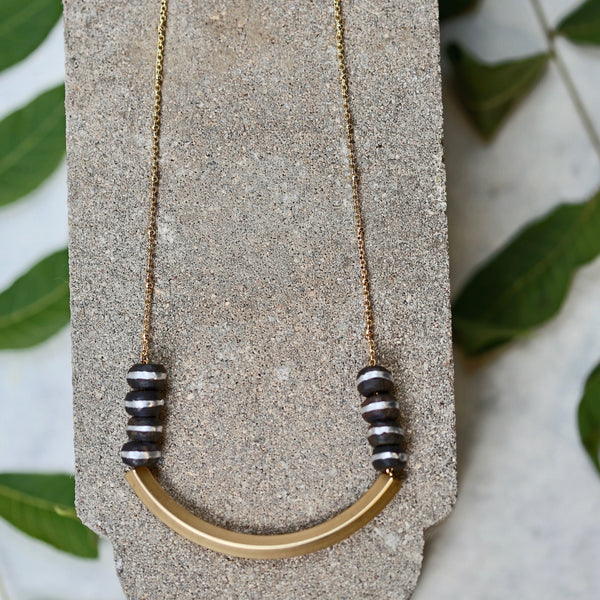 Saturn Bar Necklace - Beaded Chain Necklace / Bar Pendant / Gold Necklace