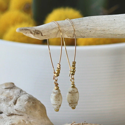 Earthy Beaded Drop Earring - Glass Bead / Gold Earring