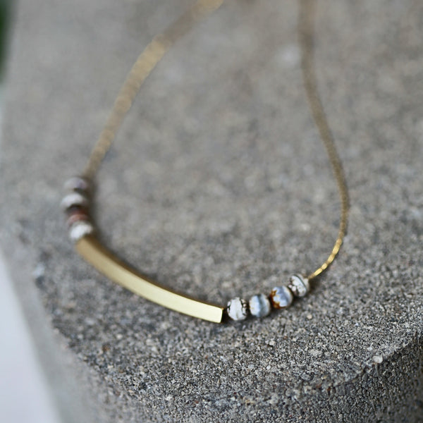 Satellite Moon Necklace - Matte Plated Gold Bar / Gemstone Beaded Necklace