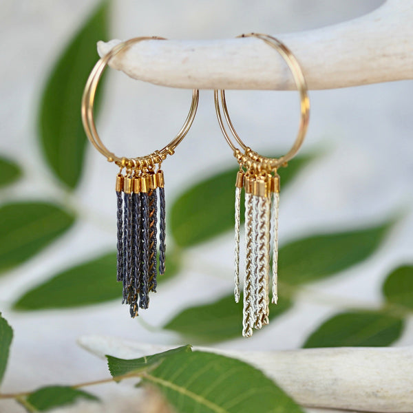 Fringe Hoop Earrings - Gold Hoops / Metal Fringe / Beaded
