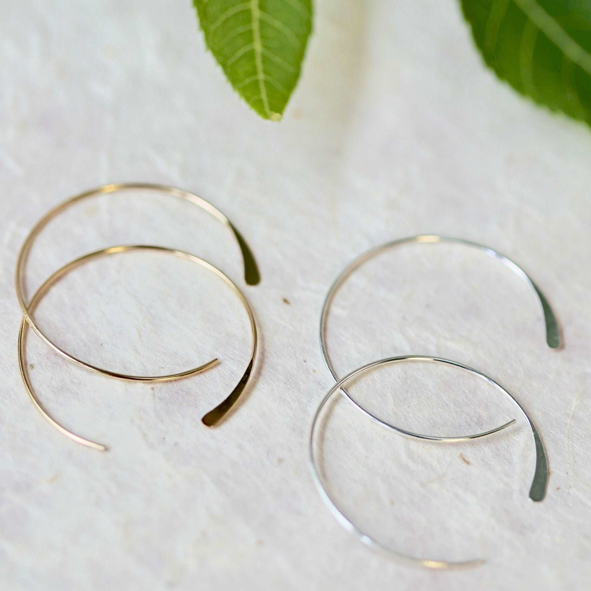 Orbit Hoop Earrings - Silver Earring / Gold Earring / Simple Hoops