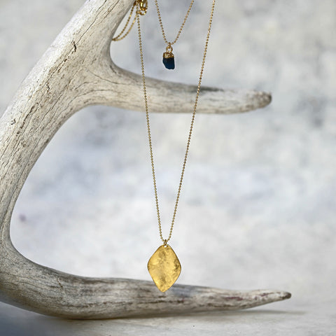 Diamond Vermeil and Raw Gem Two Layer Necklace / Delicate Gold Necklace