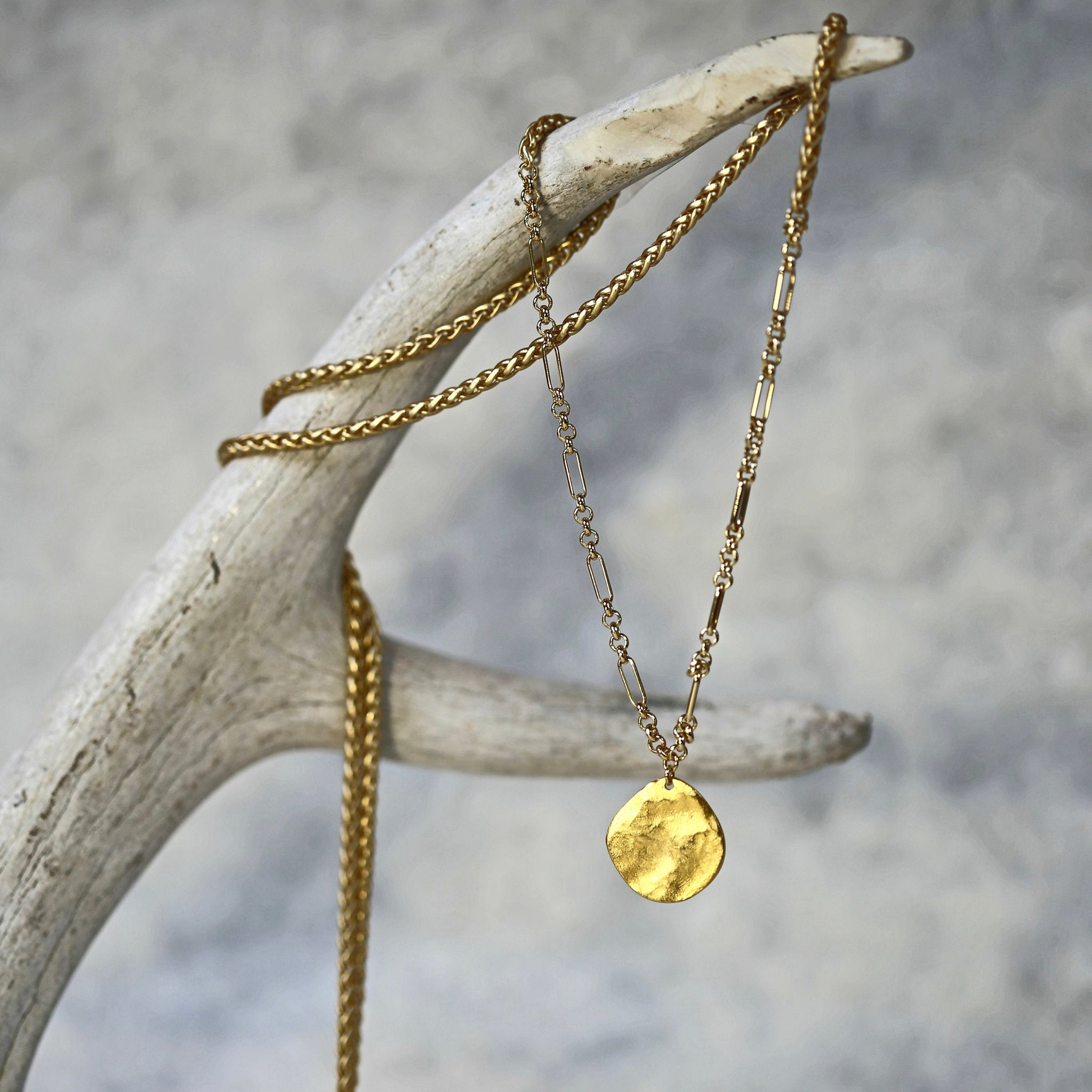 Long Luna Necklace / Long Gold or Silver Chain Necklace