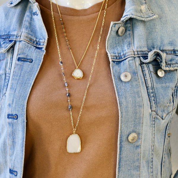 Manifest Necklace in Moonstone or Labradorite / Long Gold Pendant Necklace
