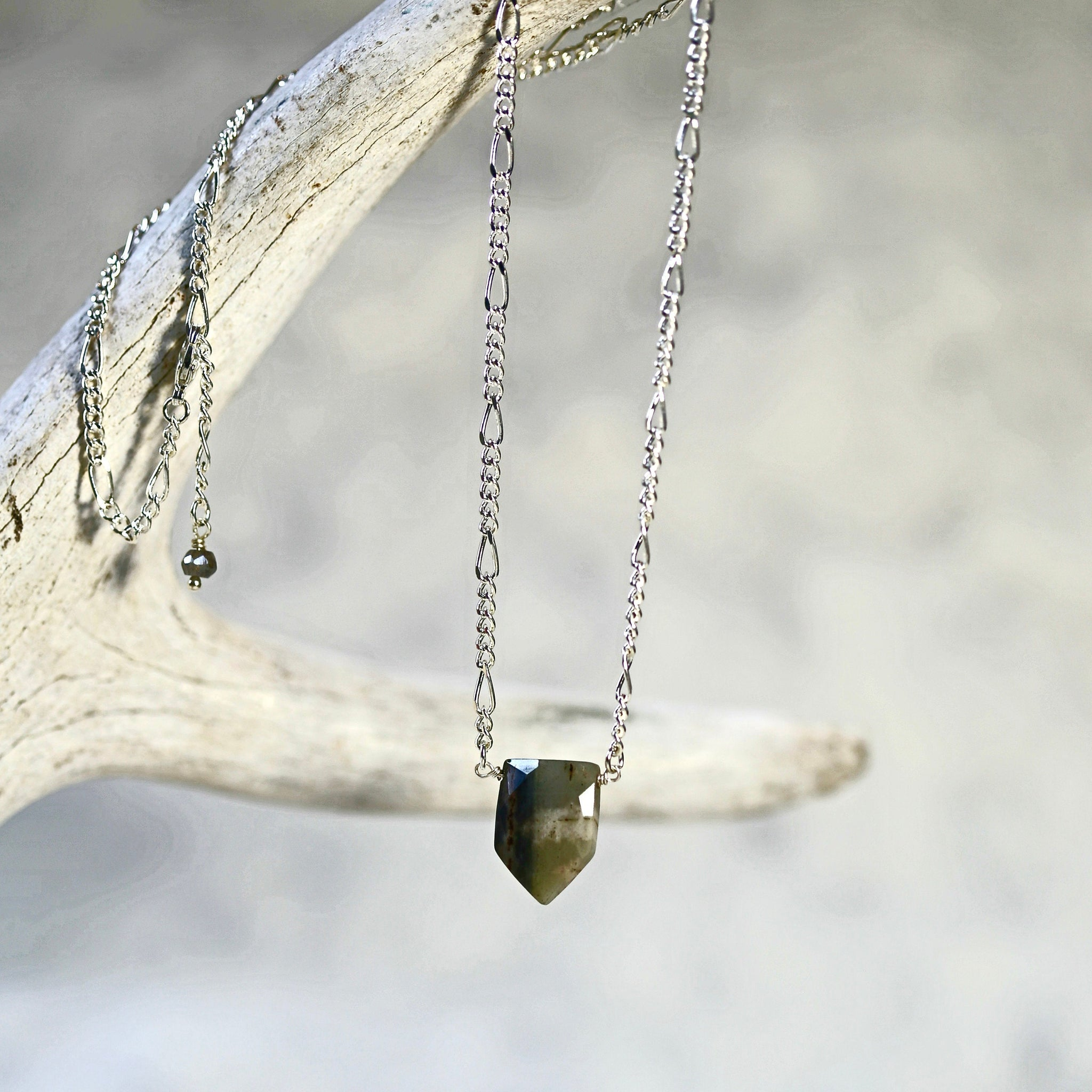 Shield Stone Necklace / Gold or Silver Jasper Necklace