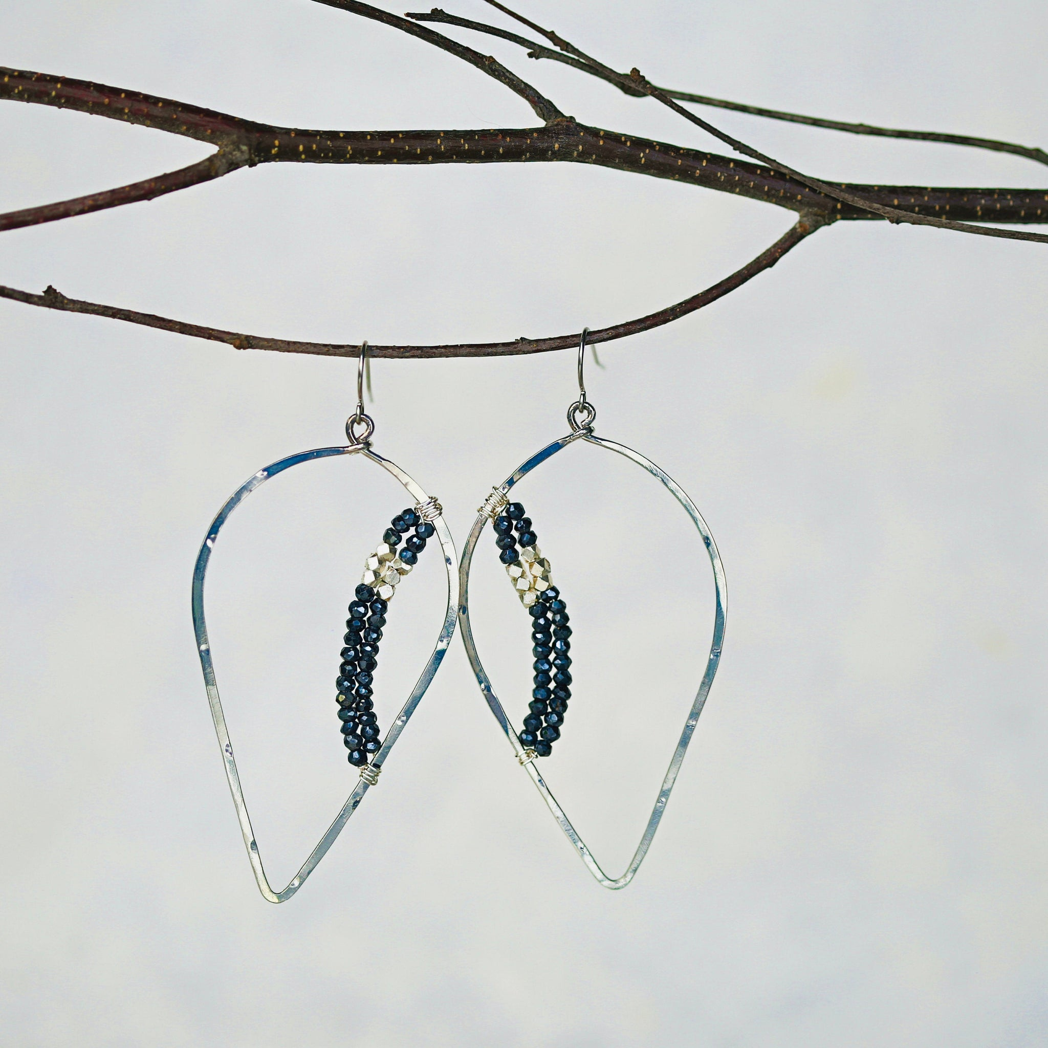 Sapphire and Silver Teardrop Hoops