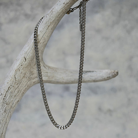 Curb Chain Choker / Silver Chain Necklace