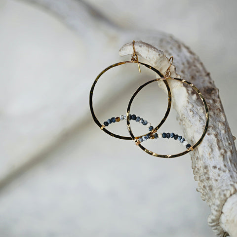 Moonrise Earrings / Dendrite Gemstones on Hammered Gold Hoops