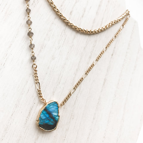 *Double Gemstone Layering Necklace Duo*