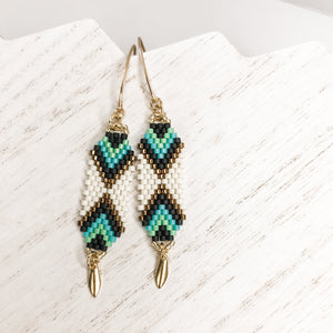 Interwoven Turquoise Drop Earrings