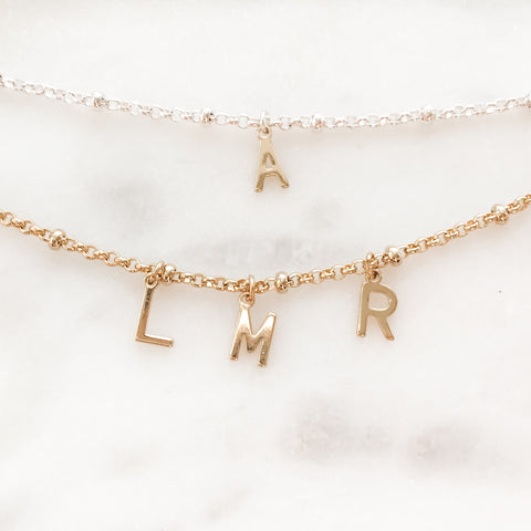 Letter Charm Monogram | Initial | Personalized Satellite Chain Necklace
