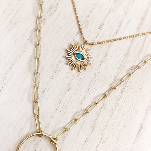 Sun + Moon Layering Necklace Duo