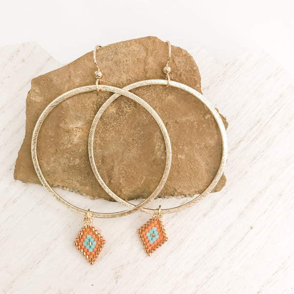Circle Back Hoop Coral Earrings