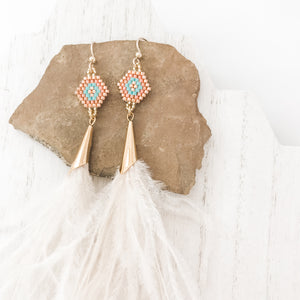 Snow Feather Drop Earrings