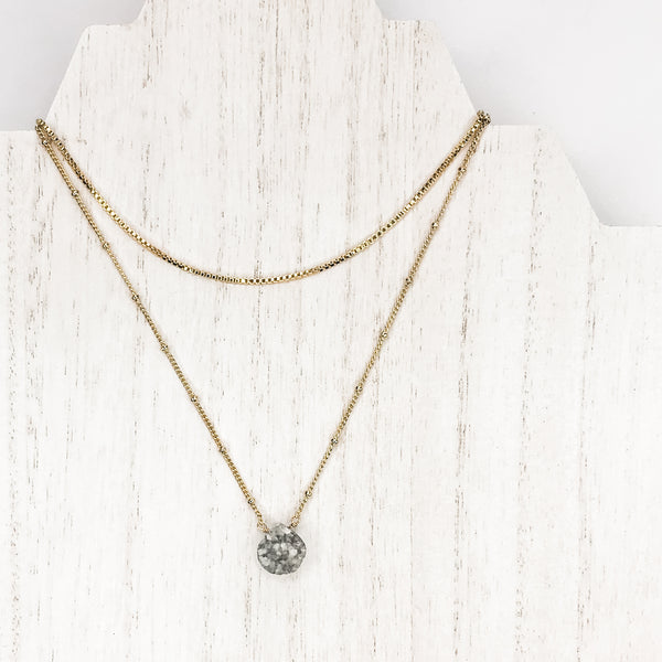 *Druzy + Box Chain Layering Necklace Duo*
