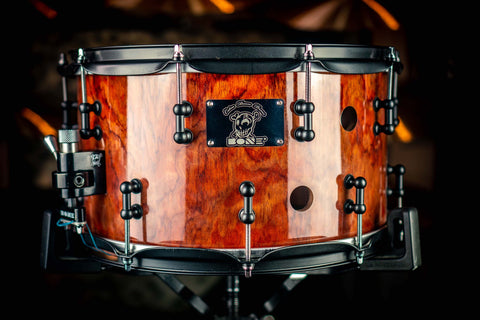 "Bone Drums - Bubinga 14"" x 7"" Natural Lacquered Snare Drum"