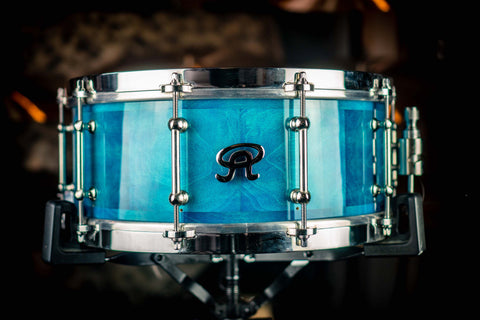 "Angel Drums - Block Stave Maple 14"" x 5.5"" Aqua Blue Lacquer Snare Drum"