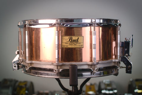 "Pearl Copper Free Floating 14x6.5"" Snare Drum Made in Japan - 1983"