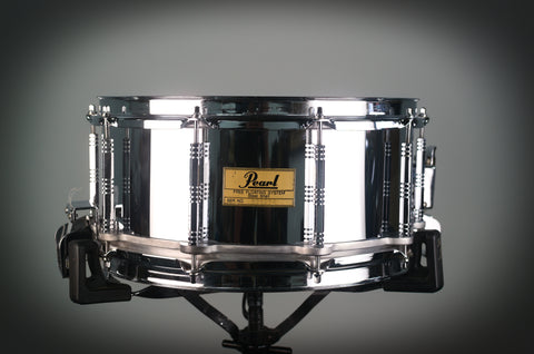 "Pearl 14x6.5"" Steel Free Floater Sanre Drum - 1980's"