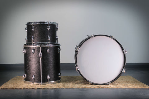 "Slingerland Mahogany Drum Kit 20""/16""/13"" in Black 'Crocodile' Finish -1962"